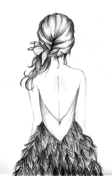 Menina de vestido - desenhos para blogs